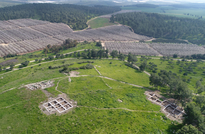 Aerial view of the archaeological site at Khirbet a-Ra'i. (photo credit: EMIL ALAGEM/ISRAEL ANTIQUITIES AUTHORITY)