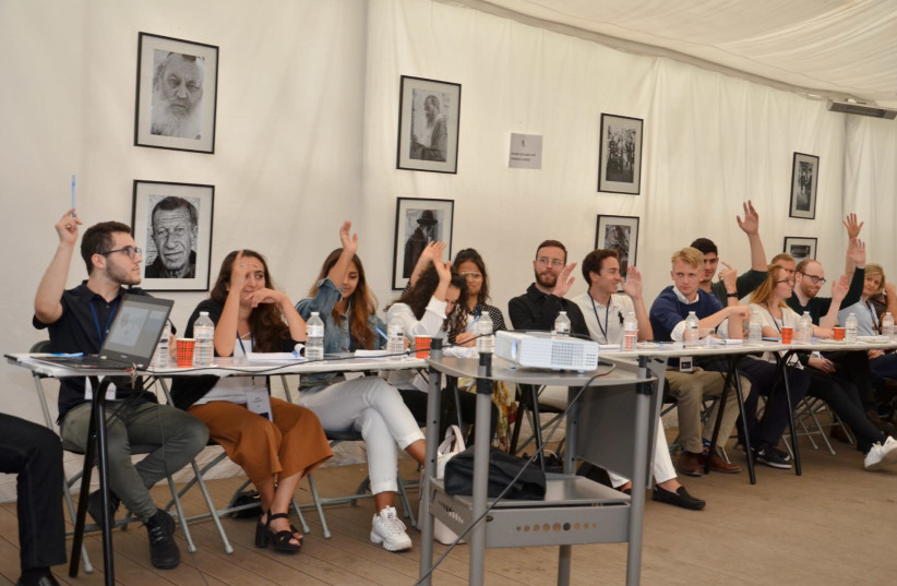 Youngsters from across Europe take part in a discussion during a bootcamp on anti-Zionism and antisemitism in Brussels. (photo credit: EUROPEAN JEWISH ASSOCIATION)