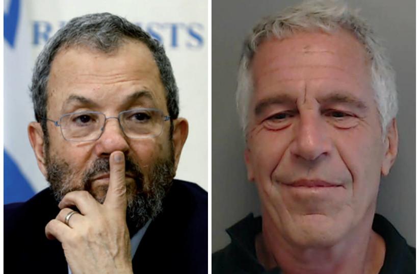 Ehud Barak and Jeffrey Epstein (photo credit: CORINNA KERN/REUTERS)