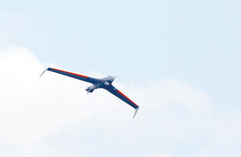 HERMES 45, a new drone by Elbit Systems, which it describes as a 'Small Tactical Unmanned Aircraft System' (STUAS), made its first appearance at the Paris Airshow 2019. (photo credit: ELBIT SYSTEMS)