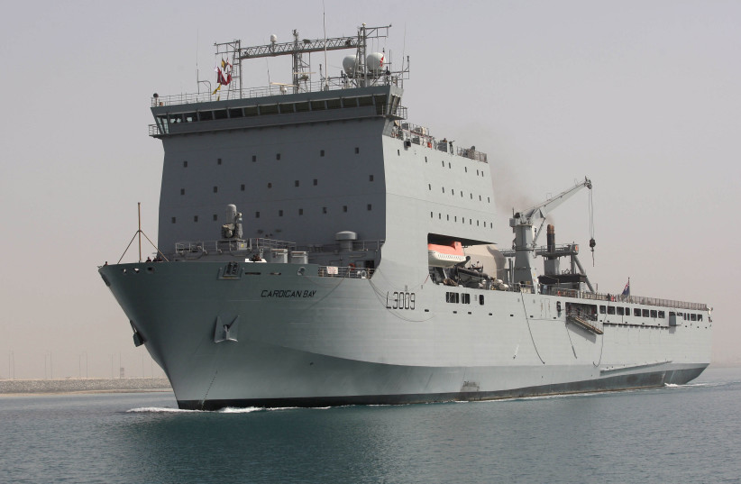 British warship arrives at Hamad port ahead of Doha International Maritime Defence Exhibition and Conference, in Doha (photo credit: NASEEM ZEITOON/REUTERS)