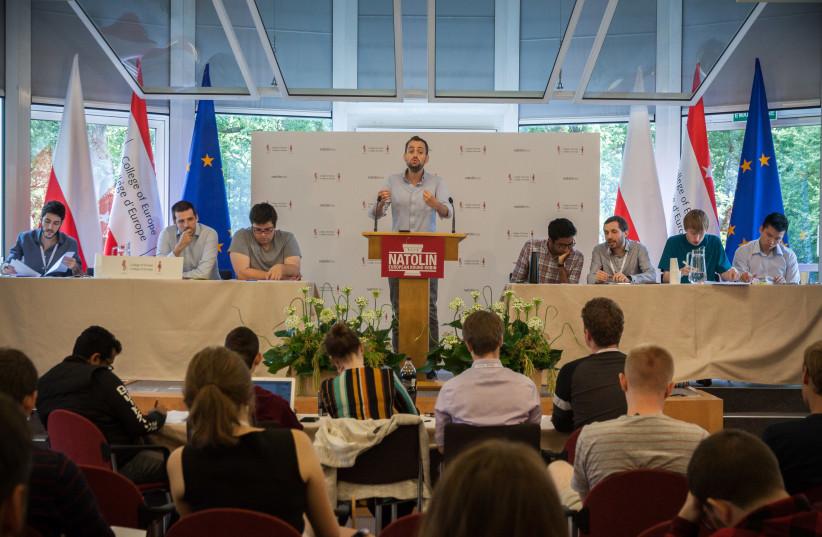 Noam Dahan debates during the exclusive European Round Robin international debating competition, 2019. (photo credit: ANTONINA DĘBSKA)