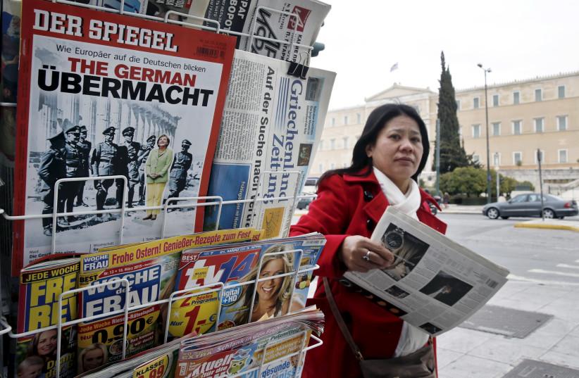 The German magazine Der Spiegel, at a newsstand, in Athens (photo credit: ALKIS KONSTANTINIDIS / REUTERS)