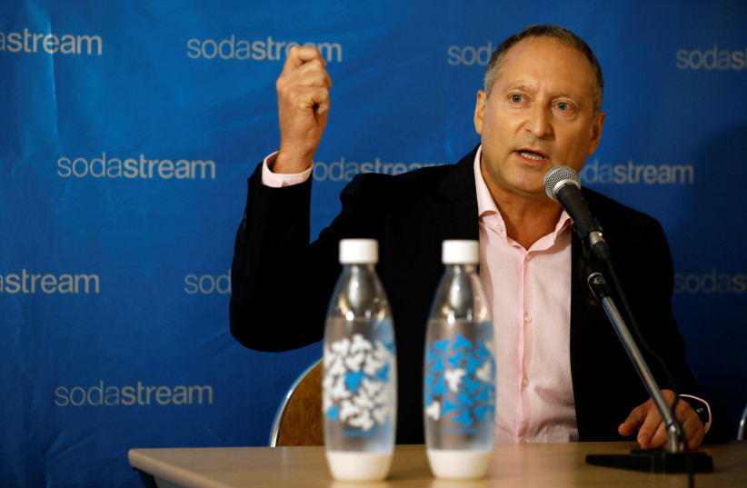 Daniel Birnbaum, CEO of SodaStream, speaks during a meeting with Ramon Laguarta, Elected Chief Executive Officer of PepsiCo, (not seen) in Tel Aviv, Israel, August 20, 2018 (photo credit: REUTERS)