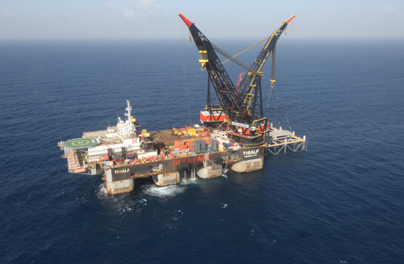 An aerial view shows the newly arrived foundation platform of Leviathan natural gas field, in the Mediterranean Sea, off the coast of Haifa (photo credit: MARC ISRAEL SELLEM)