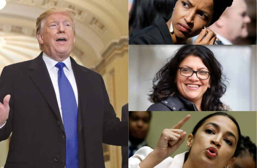 US President Donald Trump (left), called Alexandria Ocasio-Cortez (bottom right) and 'her crowd,' Rashida Tlaib (middle) and Ilhan Omar (top) Communists, Israel haters and antisemites (photo credit: REUTERS)