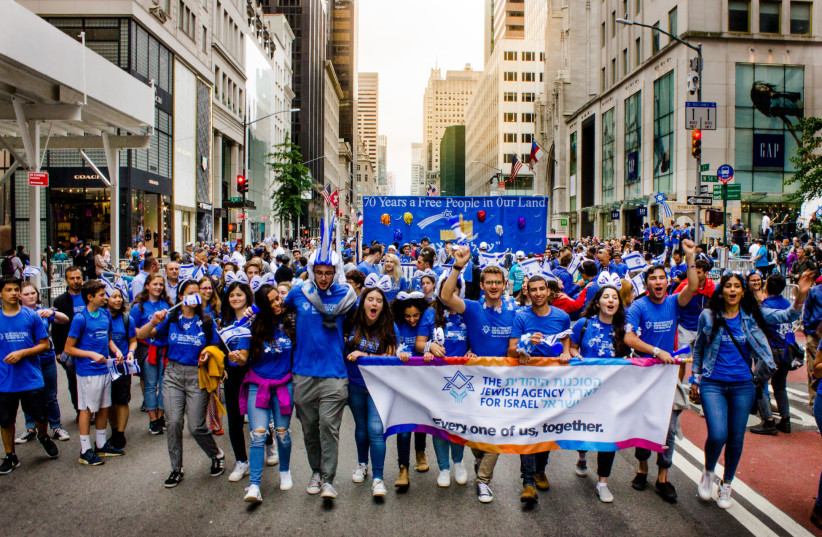 Jewish Agency Shlichim participating in the Israel Day Parade in New York in 2018 (photo credit: RAPHAEL RICE)