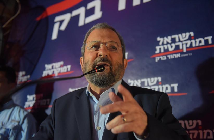 Ehud Barak speaks at a press conference with his Israel Democratic Party. (photo credit: AVSHALOM SASSONI/MAARIV)