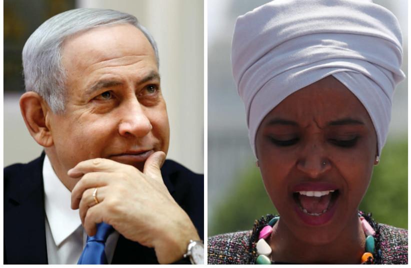 Prime Minister Benjamin Netanyahu and U.S. Rep. Ilhan Omar (D-MN) (photo credit: REUTERS)