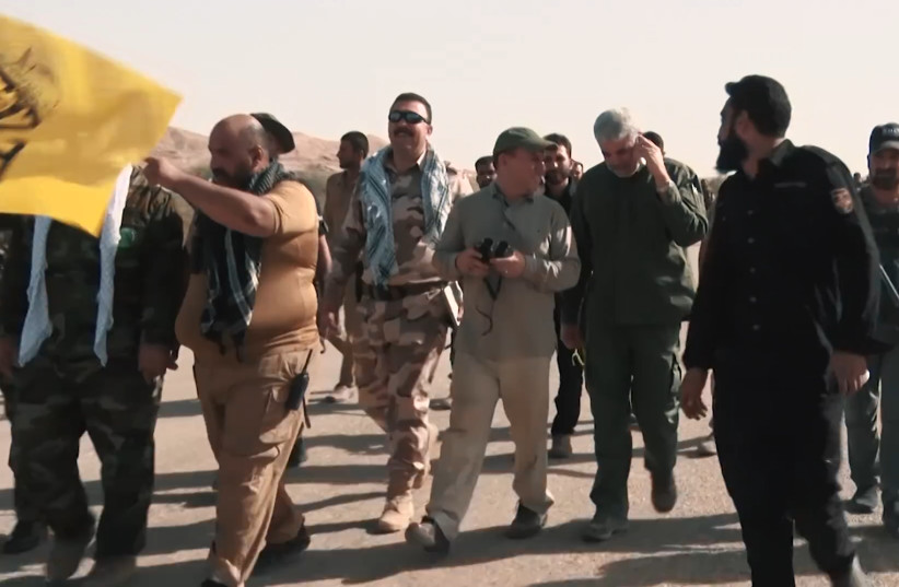 Popular Mobilization Forces with Iranian advisors during Hawija offensive in 2017 (photo credit: DLSHAD ANWAR (VOA)/WIKIMEDIA COMMONS)