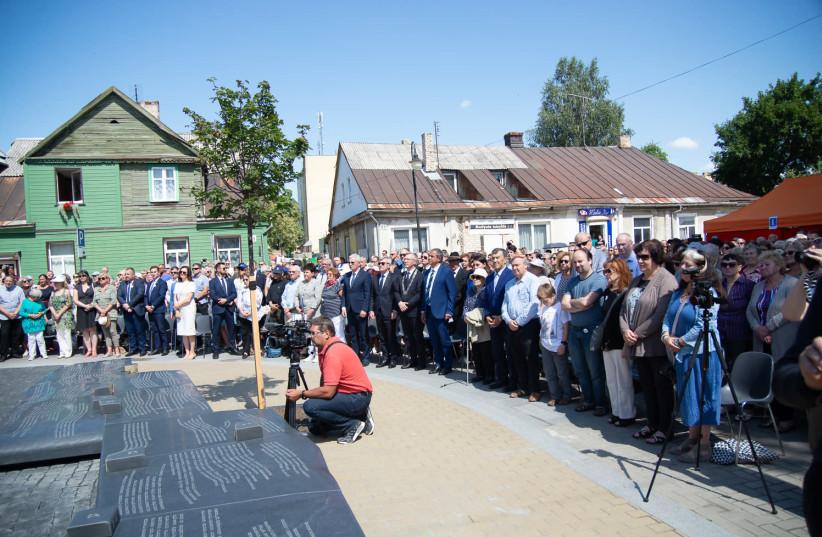 The unveiling ceremony of the Synagogue Square Memorial, which commemorates the Jewish community of Jurbarkas in Lithuania. (photo credit: Courtesy)