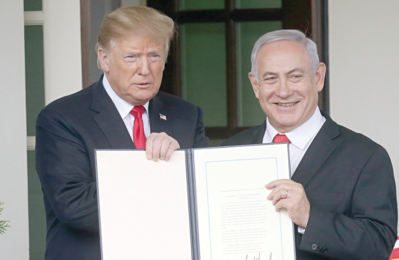 US President Donald Trump and Prime Minister Benjamin Netanyahu in Washington in March. (photo credit: REUTERS)