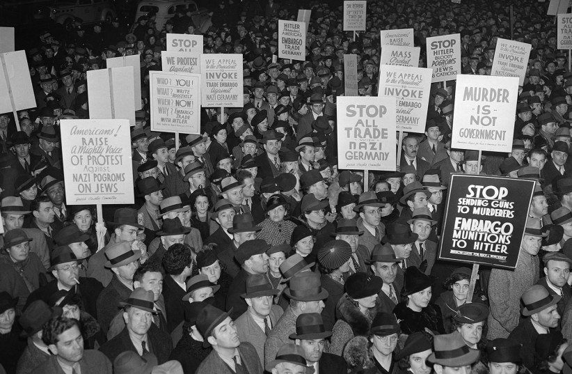 AMERICANS PROTESTING against trade with the Nazis before World War II. (photo credit: US HOLOCAUST MEMORIAL MUSEUM)