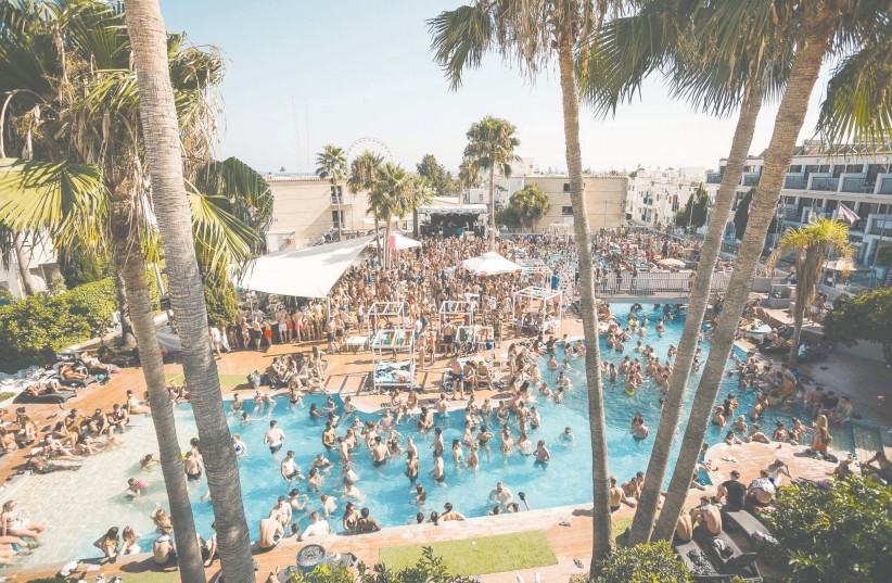 AN ADVERTISEMENT for a pool party in Ayia Napa, Cyprus.  (photo credit: Wikimedia Commons)