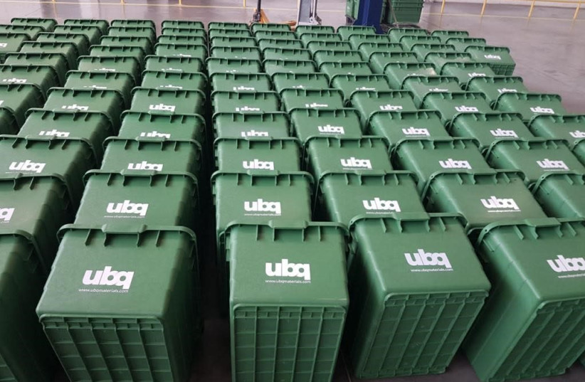 Recycling bins made from UBQ thermoplastic, ordered by the State of Virginia (photo credit: Courtesy)
