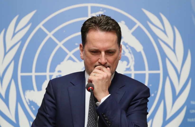 Pierre Krahenbuhl Commissioner-General of the UNRWA attends a news conference in Geneva (photo credit: DENIS BALIBOUSE / REUTERS)