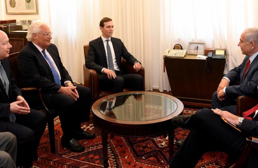 Jared Kushner and Jason Greenblatt meet with Prime Minister Benjamin Netanyahu July 31, 2019. (photo credit: MATTY STERN/US EMBASSY JERUSALEM)