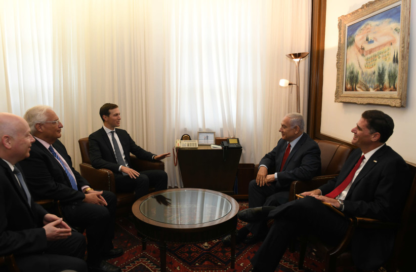 Special envoy Jason Greenblatt, US Ambassador David Freidman, special envoy Jared Kushner, Prime Minister Benjamin Netanyahu and Ambassador the US Ron Dermer meet in Jerusalem, July 31, 2019 (photo credit: KOBI GIDON / GPO)