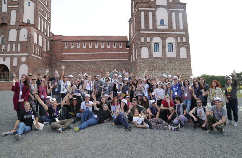 The MEGA participants from Belarus, the United States, Israel, Russia, Ukraine, Moldova, Azerbaijan, Georgia and Poland enjoy their trip in Belarus (photo credit: Courtesy)