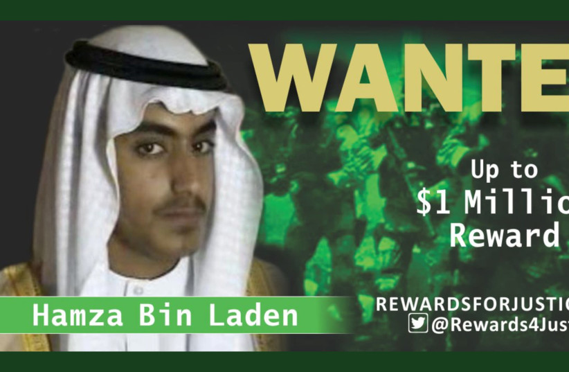 A photograph circulated by the U.S. State Department's Twitter account to announce a $1 million USD reward for al Qaeda key leader Hamza bin Laden, son of Osama bin Laden, is seen March 1, 2019.  (photo credit: STATE DEPARTMENT/HANDOUT VIA REUTERS)