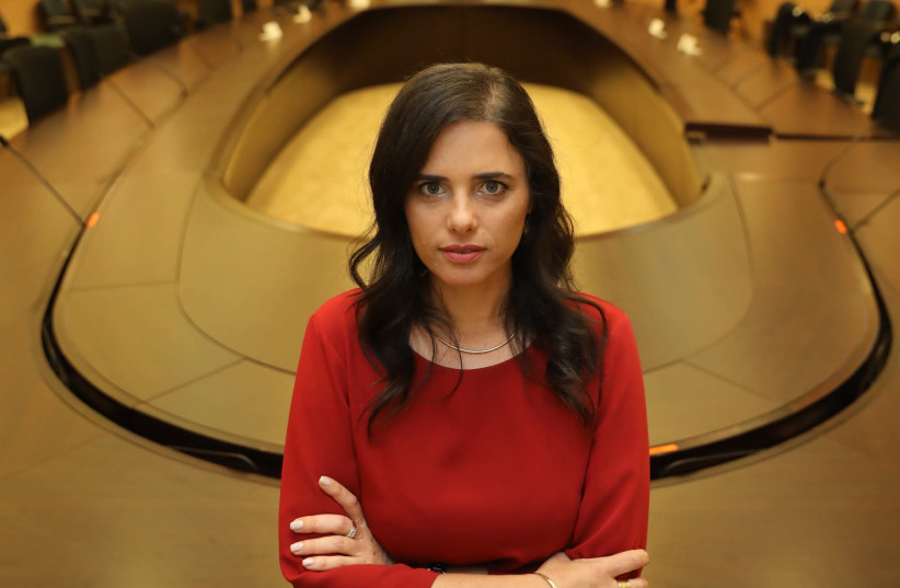 United Right leader Ayelet Shaked is seen at the Knesset on Monday. She is resolute in her party's ability to push for annexation of Area C of the West Bank. (photo credit: MARC ISRAEL SELLEM)