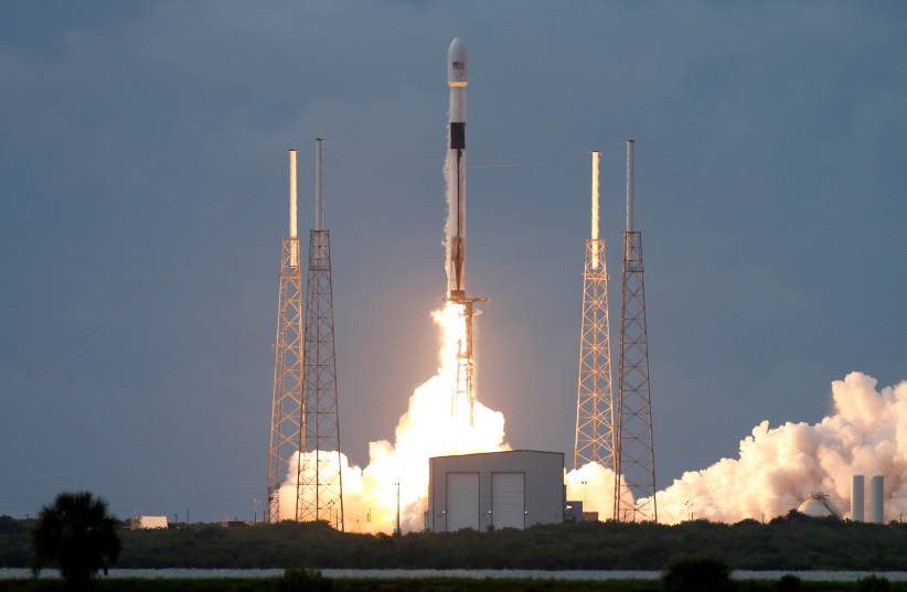 A SpaceX Falcon 9 rocket, carrying the Israeli-owned Amos-17 commercial communications satellite, lifts off from the Cape Canaveral Air Force Station in Cape Canaveral (photo credit: REUTERS)