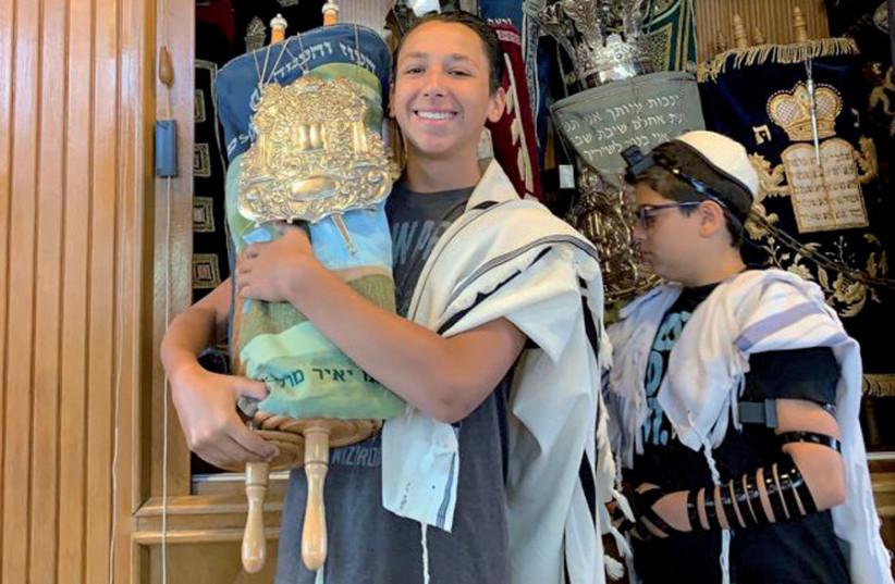 Cooper Lifshutz, grandson of Rabbi Lt.-Col. Oscar M. Lifshutz, celebrates his bar mitzvah in Jerusalem (photo credit: COURTESY LIFSHUTZ FAMILY)