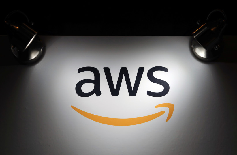 The logo of Amazon Web Services (AWS) is seen during the 4th annual America Digital Latin American Congress of Business and Technology in Santiago (photo credit: IVAN ALVARADO/REUTERS)