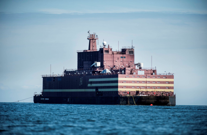 "The Russian ""Academy Lomonosov"", the world's first floating nuclear power plant, passes Langeland island (photo credit: RITZAU SCANPIX/TIM KILDEBORG JENSEN/VIA REUTERS)"
