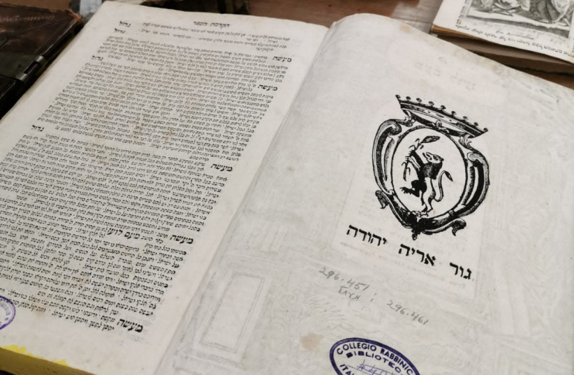 Books from the collection of the Union of Italian Jewish Communities. (photo credit: COURTESY OF PAGINE EBRAICHE)