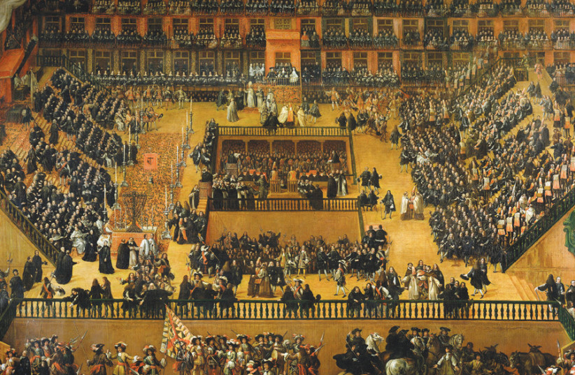 'AUTO-DA-FE ON Plaza Mayor, Madrid', מאת פרנסיסקו ריזי, 1680, ממחיש את הטקס מתקופת האינקוויזיציה הספרדית של תשובה פומבית של אפיקורסים גינויים.  (אשראי צילום: Wikimedia Commons)
