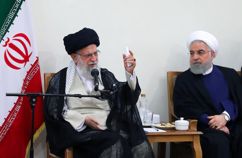 Iranian President Hassan Rouhani meets with Supreme Leader Ayatollah Ali Khamenei, Aug. 21, 2019 (photo credit: KHAMENEI.IR)