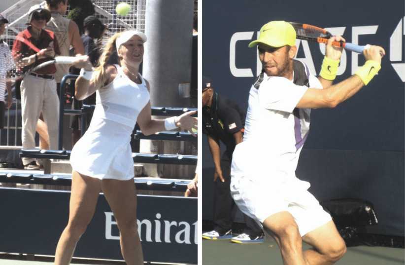 ISRAELI TENNIS players Julia Glushko (left) and Dudi Sela (right) were both eliminated from the US Open Qualifying Tournament in the first round this week. (photo credit: HOWARD BLAS)