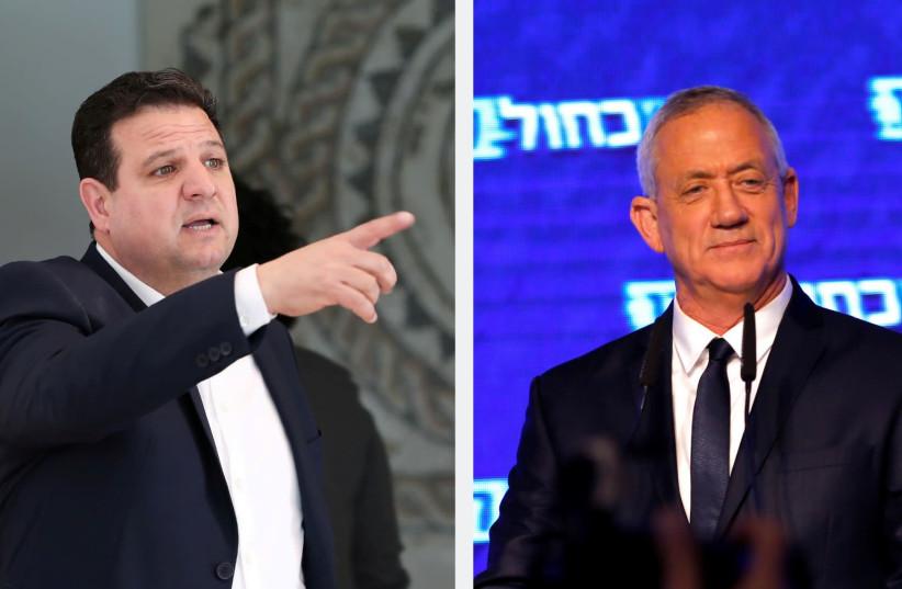 Le député Ayman Odeh, chef du parti Hadash-Ta'al, et Benny Gantz, chef du parti bleu et blanc. (crédit photo: REUTERS)