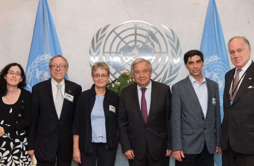 Goldin family meet with UN Chief Guterres to demand action regarding son's burial (photo credit: COURTESY OF FAMILY)