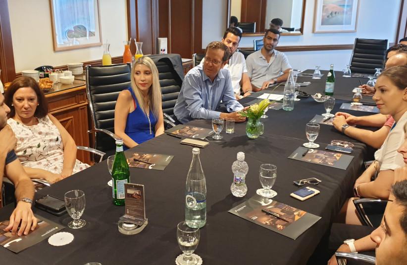 Meeting with Isaac Herzog, Chairman of Jewish Agency, Salina Shambos, Ambassador of Cyprus in Israel, Stavroula Deli, DCM at Greek Embassy in Israel (photo credit: JEWISH AGENCY)