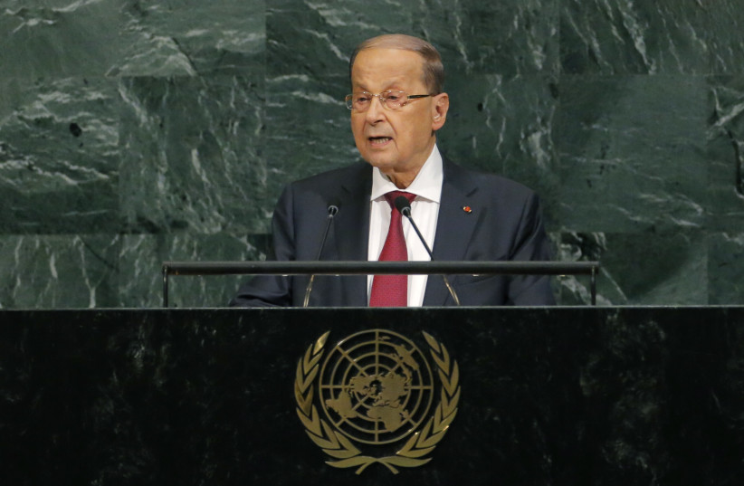 Lebanese President Michel Aoun addresses the 72nd United Nations General Assembly at U.N. headquarters in New York, U.S., September 21, 2017.  (photo credit: LUCAS JACKSON/REUTERS)