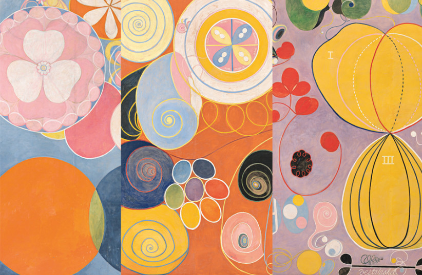 HILMA AF KLINT 'The Ten Largest: Childhood' / 'The Ten Largest: Youth' / 'The Ten Largest: Adulthood' (1907) (photo credit: Courtesy)