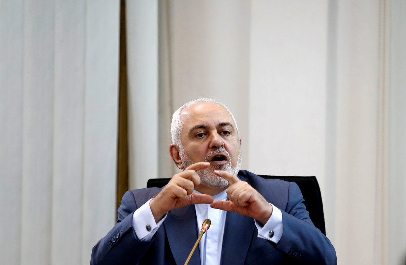 "Iranian Foreign Minister Mohammad Javad Zarif speaks at ""Common Security in the Islamic World"" forum in Kuala Lumpur, Malaysia August 29, 2019 (photo credit: REUTERS/LAI SENG SIN)"