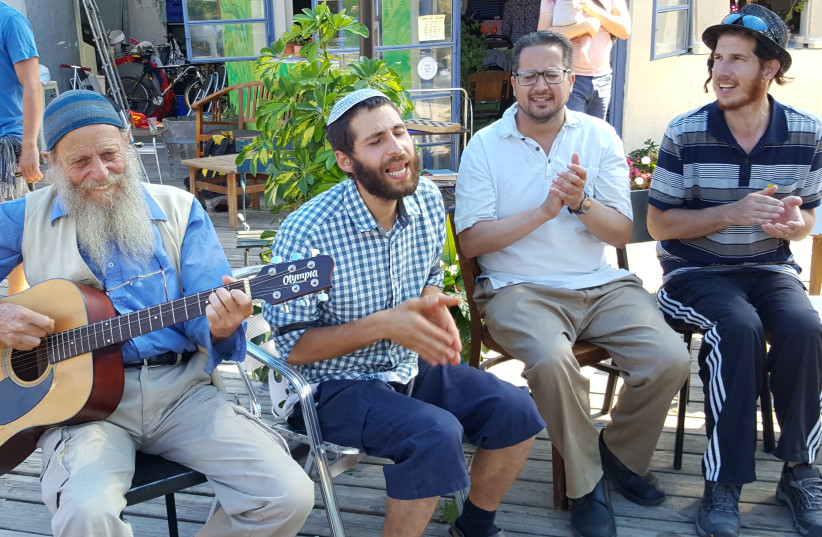 A musical Kabbat Shabbat ended the JeruStock event. ( From Right to Left) Yankele Shemesh, who was at the original Woodstock, Kalman Flax, Maury Epstein and Daniel Levin (photo credit: BEN BRESKY)