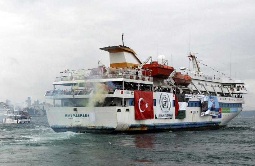 Turkish ship Mavi Marmara, carrying pro-Palestinian activists to take part of a humanitarian convoy, leaves from Sarayburnu port in Istanbul, Turkey May 22, 2010.  (photo credit: REUTERS)