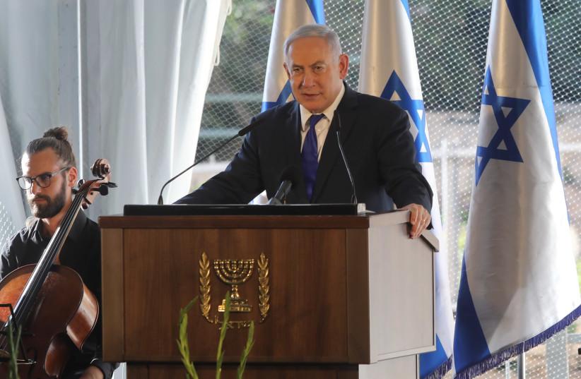 Prime Minister Benjamin Netanyahu speaks at a press conference in Hebron, September 4, 2019 (photo credit: MARC ISRAEL SELLEM/THE JERUSALEM POST)