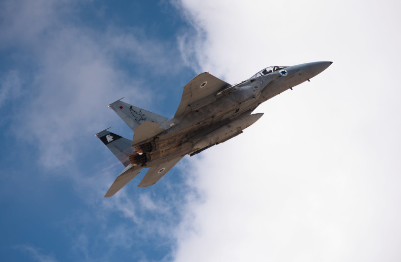 An IAF plane takes part in the IDF's 'Blue Flag' exercise. November 5th, 2017 (photo credit: IDF SPOKESPERSON'S UNIT)