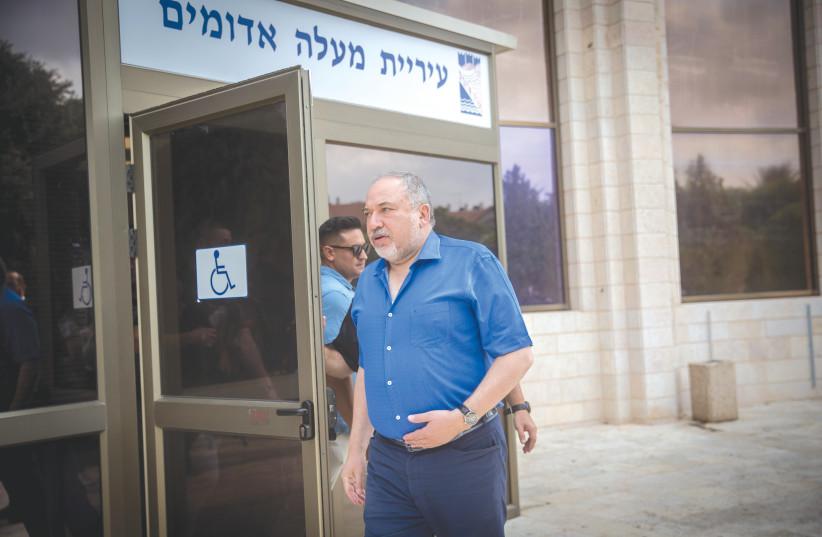 YISRAEL BEYTENU leader Avigdor Liberman speaks in Ma'aleh Adumim on Sunday, a week before the elections.  (photo credit: YONATAN SINDEL/FLASH 90)