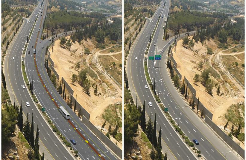 Before and after the construction of a new public transportation lane along Jerusalem's Begin Boulevard (photo credit: JERUSALEM TRANSPORT MASTER TEAM)