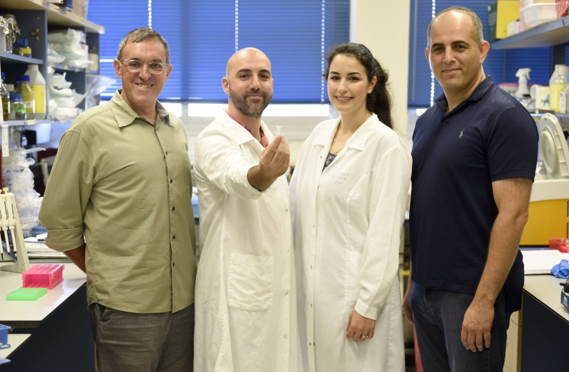 The research group. From right to left: Prof. Roee Amit, Inbal Vaknin, Leon Anavy, and Prof. Zohar Yakhini (photo credit: RAMI SHLUSH / TECHNION)