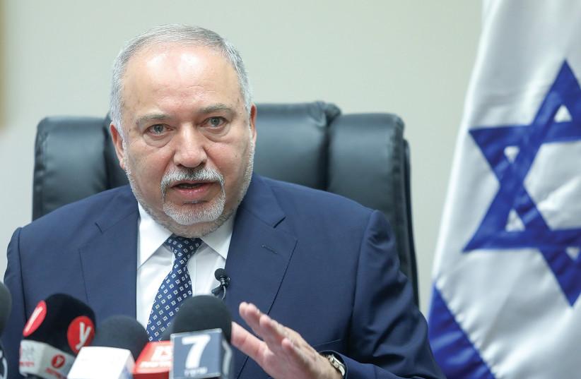YISRAEL BEYTENU leader Avigdor Liberman addresses a faction meeting at the Knesset yesterday.  (photo credit: MARC ISRAEL SELLEM)