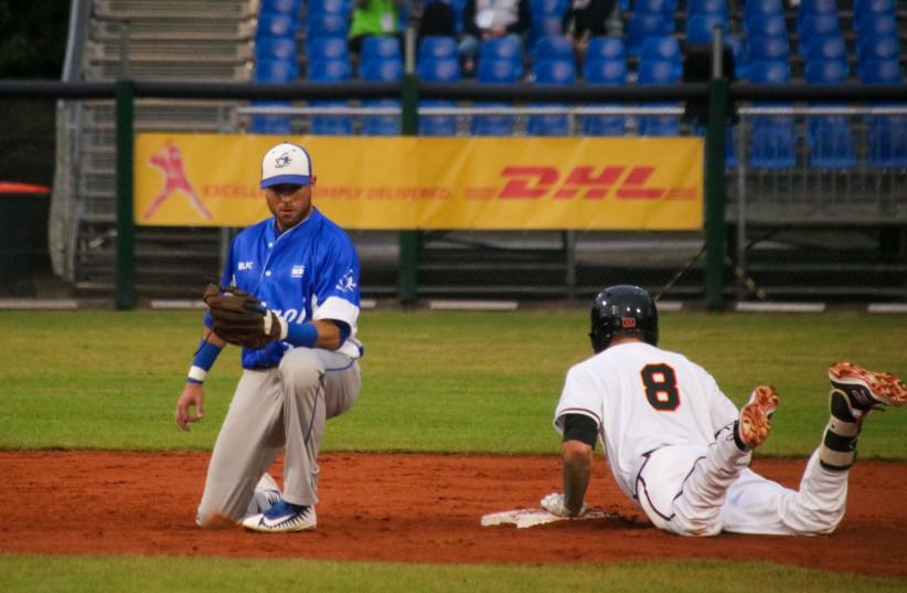 Israel playing at the 2019 European Baseball Championship in Germany, September 2019   (photo credit: MARGO SUGARMAN)