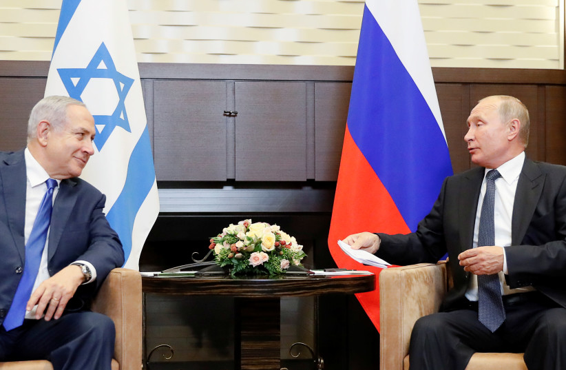 Russian President Vladimir Putin attends a meeting with Israeli Prime Minister Benjamin Netanyahu at the Bocharov Ruchei state residence in Sochi, Russia September 12, 2019.  (photo credit: REUTERS/SHAMIL ZHUMATOV)