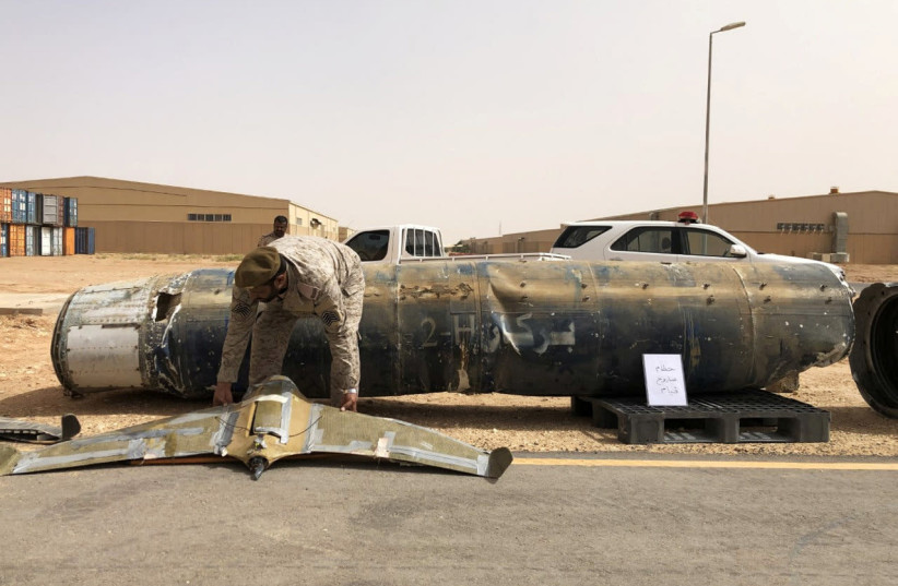 A projectile and a drone launched at Saudi Arabia by YemenÕs Houthis are displayed at a Saudi military base, Al-Kharj, Saudi Arabia June 21, 2019 (photo credit: REUTERS/STEPHEN KALIN)
